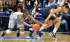 Choice 2 of 9<br /> <br /> Connecticut's Tiffany Hayes, left, reaches for a ball lost by Notre Dame's Skylar Diggins during the first half of an NCAA college basketball game in the semifinals of the Big East tournament in Hartford, Conn., Monday, March 8, 2010. (AP Photo/Jessica Hill)
