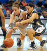 Choice 3 of 9<br /> <br /> Connecticut's Caroline Doty, left, and Notre Dame's Skylar Diggins chase the ball during the first half in an NCAA college basketball game in the semifinals of the Big East tournament in Hartford, Conn., Monday, March 8, 2010. (AP Photo/Jessica Hill)