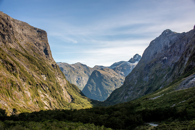 View down the Cleddau River from below Homer Tunnel. The Charismatic Wall is on the skyline on the true left. We climbed (up and down) left of it. Sheerdown Peak back right; Mt Isolation on right