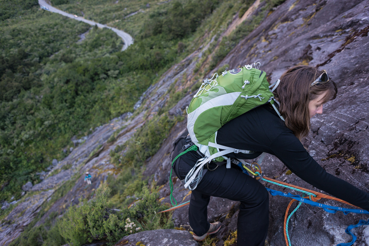 Descending the slabs to the Milford Road