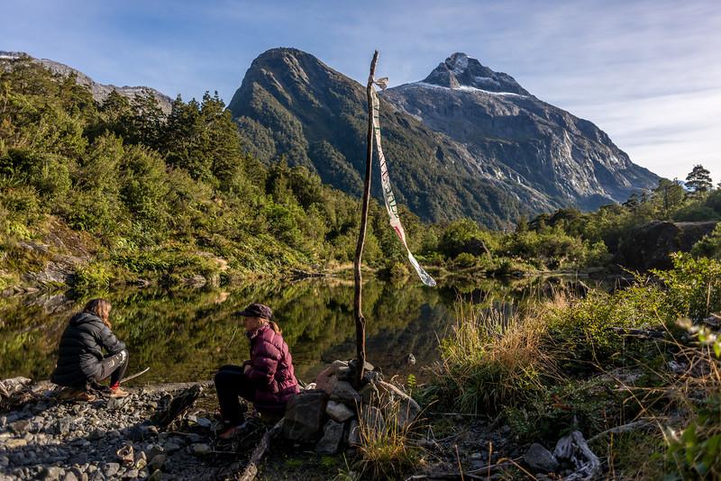 The 'wind sock' at the landing site. Sheerdown Peak above