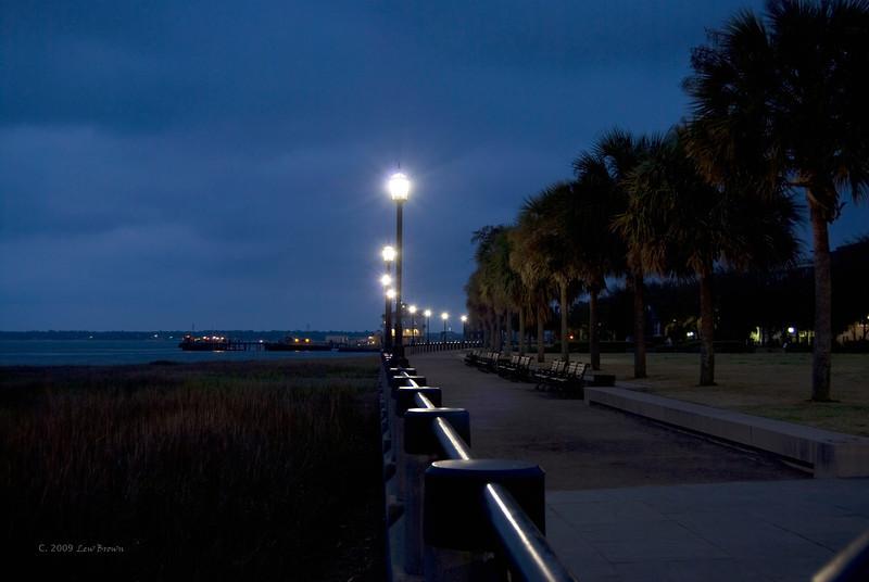 Waterfront Park lights at dawn