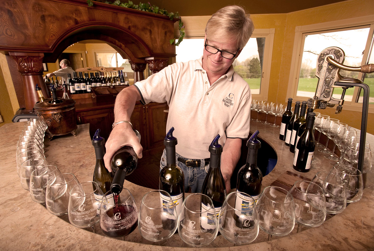 Lorenzo Lizarralde in his tasting room at the Chateau Aeronautique Winery in Jackson, MI on May 4, 2013. (Photo by Mark Bialek)