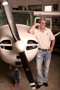 Lorenzo Lizarralde with his 1956 Cessna 172 at the Chateau Aeronautique Winery in Jackson, MI on May 4, 2013. (Photo by Mark Bialek)