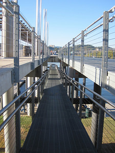 A ramp leading to docked boats in downtown Chattanooga.