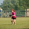 Laura Currie plays the outfield during Chautauqua women's softball league play.