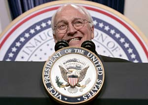 Vice President Dick Cheney addresses the crowd at the Texas/Wyoming Ball at the Washington Convention Center Thursday, Jan. 20, 2005, in Washington. (AP Photo/Charles Dharapak)