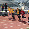 Runners compete in the 50-meter dash, female 16-21 division on Saturday at the Cherokee Country Special Olympics Track and Field day.