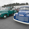 1952 GMC in Narva Green, and 1953 Chevrolet in Mariner Blue.  October 11, 2014.