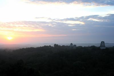the sun coming up at tikal.. guatemala