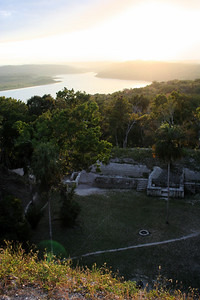 sunset from the top of the pyramid.. yaxha, guatemala
