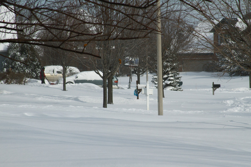 This is our street--a sea of snow.
