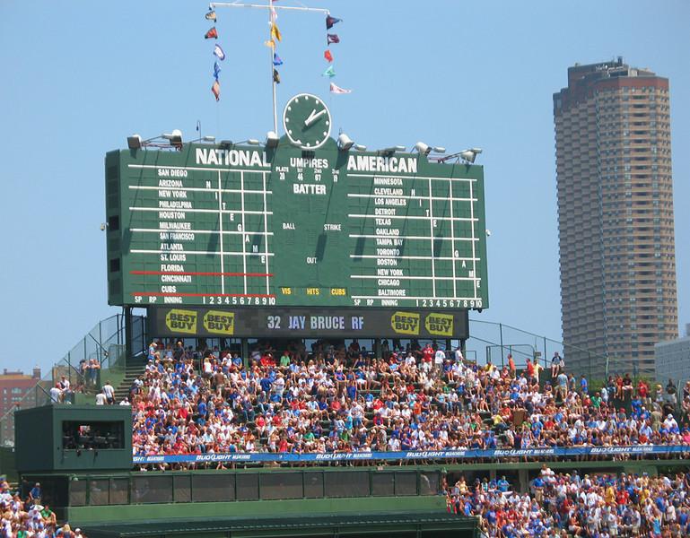 Hand turned scoreboard.