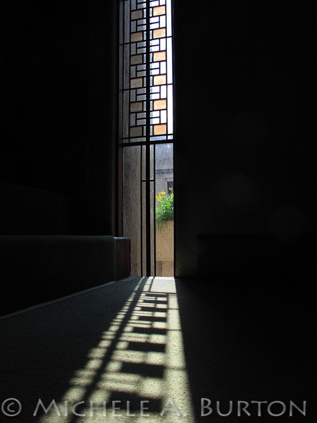 Unity Temple Window and Shadow<br /> Oak Park