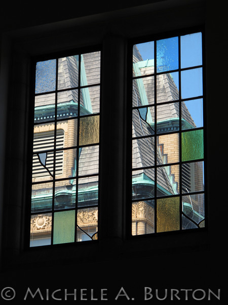 Riverside Town Hall<br /> as seen through the stained glass window<br /> Riverside Public Library