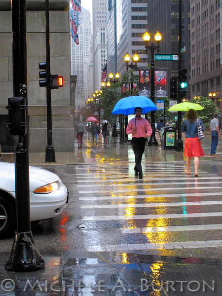 Umbrellas in the Rain<br /> Summer Solstice in Chicago<br /> Randolph Street