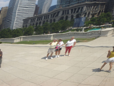 Chicago Visit, 2006  Me, Kay and Rae in the reflection of the Bean
