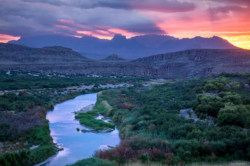 Rio Grande Boquillas Chisos Mountains Monsoon Sunset