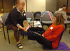 m107, TA4.4 Lamaze and childbirth class<br /> <br /> Choice 10 of 11<br /> <br /> Patricia Trimble, left, helps her daughter, Kristina Peters, simulate breathing during labor as part of a Lamaze class at John Muir Women's Health Center in Walnut Creek, California, Tuesday, January 8, 2008. Kristina is due with twins in March. (Bob Larson/Contra Costa Times/MCT) (Newscom TagID: krtphotoslive286520) [Photo via Newscom]