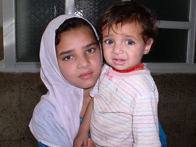 This is my little friend, Iyarina and her baby sister. Iyarina spends all day/night at the hospital caring for her sibling while her mother cares for an ailing grandmother. She is 10 years old and has just started school (Taliban prohibited her before this). She is beautiful. The baby got scared of the camera, but was smiling before the picture !