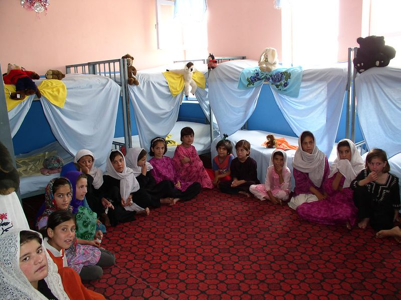One of the girls' rooms - toys, crafts, creativity galore. Allahuddin Orphanage, Kabul, Afghanistan.