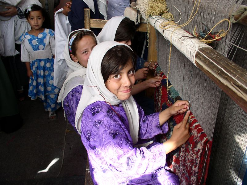 The Allahuddin Orphanage girls learn useful crafts as well as reading and writing.