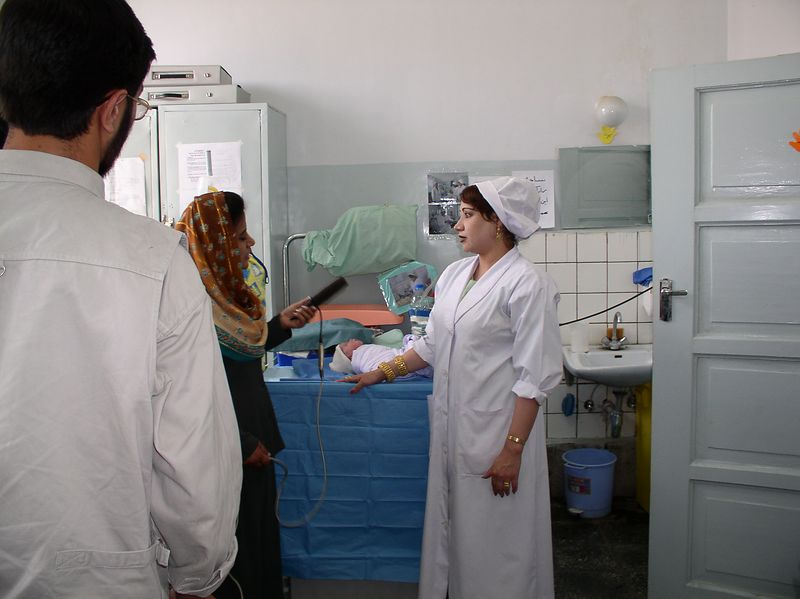 Fawzia, Nursery Head Nurse was filmed by Afghani TV. She described the benefits of the Afghani baby bundling. See the sink in the back, it was replaced with a NEW pedestal one !