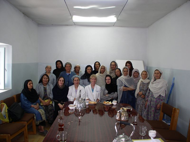 Heaven is missing some angels and this is where you'll find them - the cleaning women of Rabia Balkhi Hospital. This is the graduation ceremony from their 3 day -3 hour infection control class. For all of you who donated women's socks, these are the feet that wear them.
