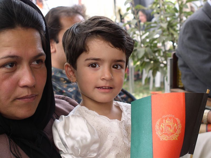 Zuhra Bahar Yama (4 1/2) celebrating Afghanistan's 8/19 Independence Day with her parents, Drs. Yama , both Professors of Literature at Kabul University. This was the first celebration since the Taliban fell. See next photo for a special glimpse into Afghanistan's future.