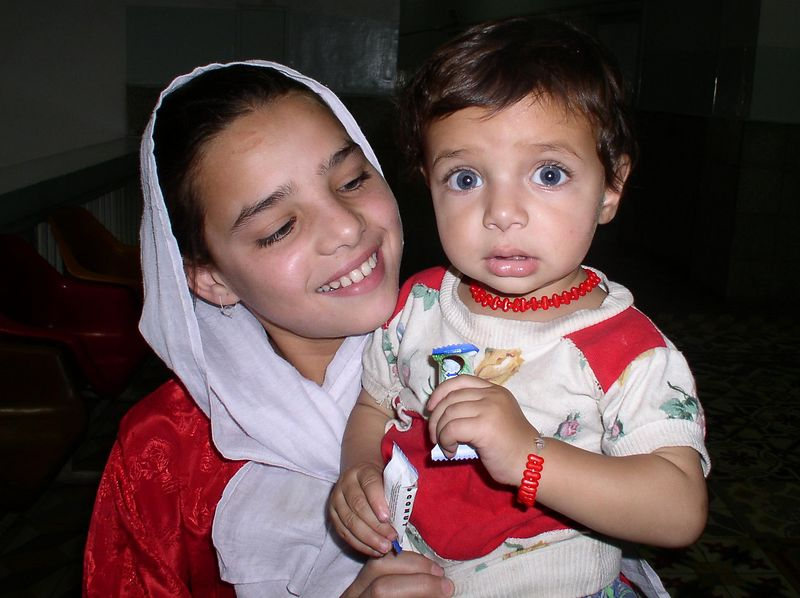 My friend, Iyarina and her sister. i love the blue eyes.
