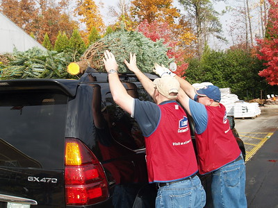 Dedicated Lowe's Employees load up trees.