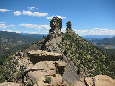 Chimney Rock, looking east. The alignment of the rocks was used to determine celestial events.