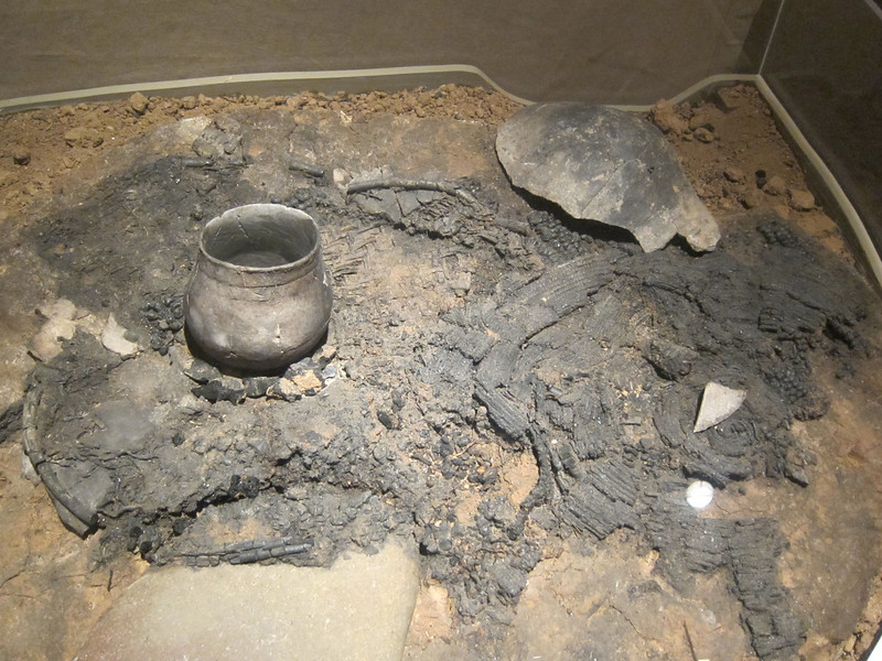 Intact hearth dated to 800 years BP. on display at Anasazi Interpretive Center.