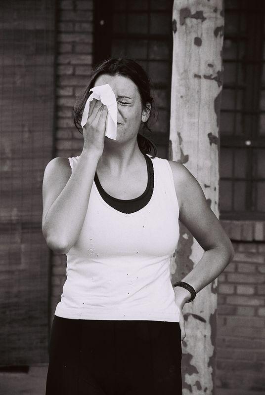 sarah wiping face