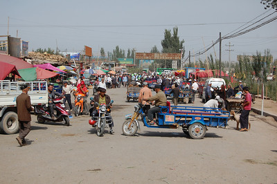 Arriving at the famous Kashgar Animal Market - it's certainly bustling!