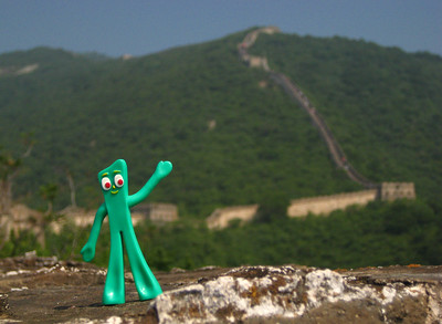 Gumby climbing Mutianyu Great Wall