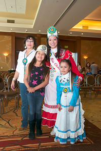 Nizhoni, Taloa and EvaJean Felihkatubbee of Carona, Calif., enjoy some time with Miss Choctaw Nation, Cheyenne Murray.