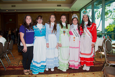 Young women of the Okla Chahta clan helped Miss Choctaw Nation, Cheyenne Murray, fill the room with color.