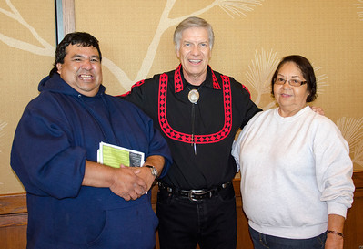 Gary Honanie and Olene Honanie of San Diego smile for the camera with Chief Pyle.