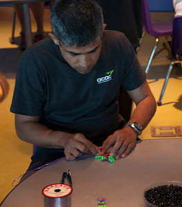Rehan making great progress on his beaded turtle.