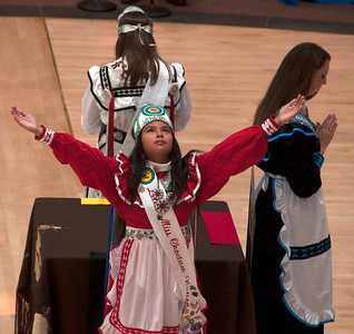 Little Miss Choctaw Josephine Gilmore during the Four Directions Ceremony.