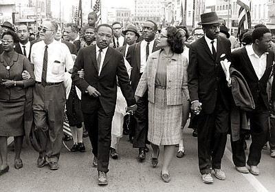 **ADVANCE FOR WEEKEND JUNE 7-8**This photo supplied by the High Museum of Art, shows Dr. Martin Luther King Jr. and his wife Coretta Scott King leading freedom marchers in Montgomery, Ala. in 1965, in a photo by Morton Broffman, which is part of one of two exhibits --this one at the High Museum of Art -- opening in Atlanta on Saturday,June 7, 2008,   focusing on the civil rights movement.(AP Photo/ High Museum of Art ,Gift of the Broffman Family,Morton Broffman)   Original Filename: CIVIL_RIGHTS__CITY_AX500.jpg
