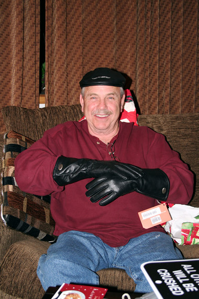 Dad showing off his new hat and riding gloves