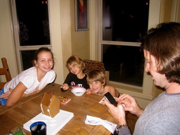December 12, 2010  Vanessa, Vivian & Zane decorating a gingerbread house