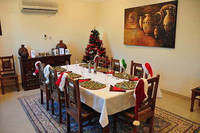 Table's set, tree lights are on and awaiting our guests.