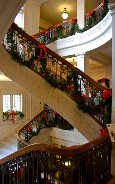 One of my favorite parts was the amazing staircase so lavishly decorated.  I took shots from every angle  :-)