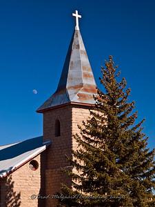 """Steeple & Moonrise""-San Juan Bautista-Duran, New Mexico (erected 1916)"
