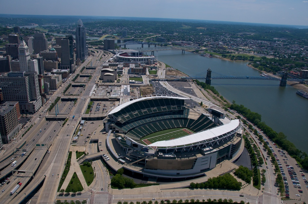 Cincinnati Stadiums along riverfront