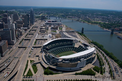 Cincinnati Stadiums along riverfront