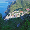 View down from the road to Riomaggiore.